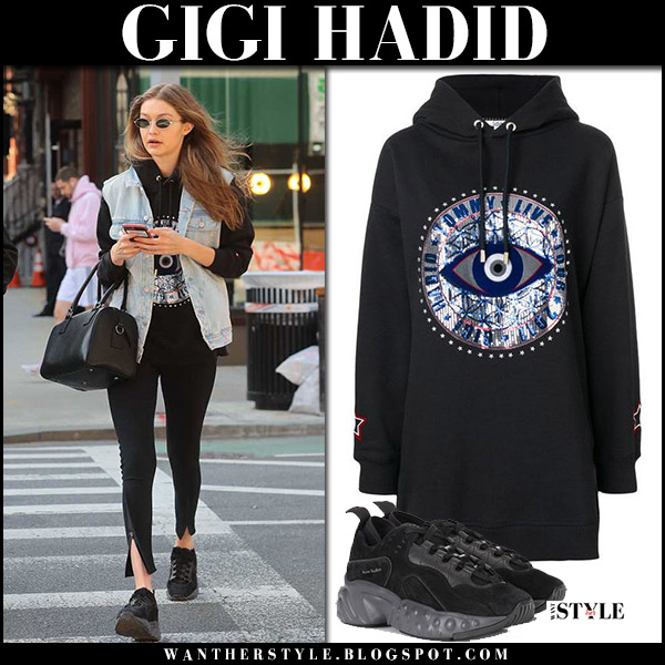 Gigi Hadid in denim vest, black hoodie tommy hilfiger and black sneakers acne manhattan model street fashion april 21