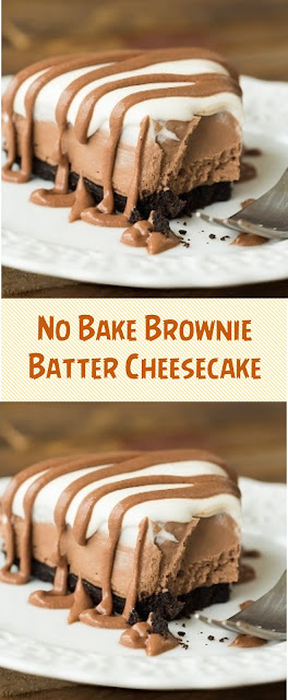 No Bake Brownie Batter Cheesecake