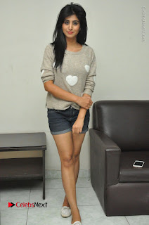 Actress Model Shamili (Varshini Sounderajan) Stills in Denim Shorts at Swachh Hyderabad Cricket Press Meet  0037.JPG