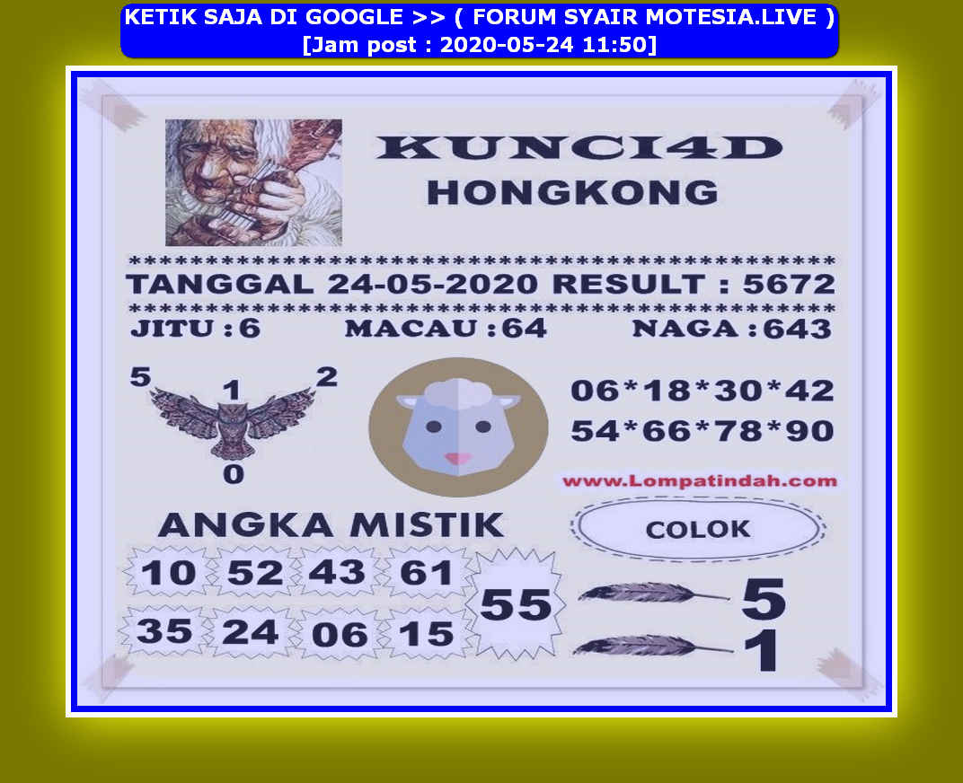 Kode syair Hongkong Minggu 24 Mei 2020 53