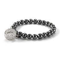 "LISA HOFFMAN FOR ORIGAMI OWL HEMATITE BEAD BRACELET 7"" WITH SILVER FRAGRANCE PENDANT available at StoriedCharms.com"