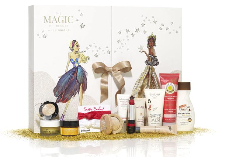 The contents of the Feelunique Magic of Beauty Advent Calendar 2016.