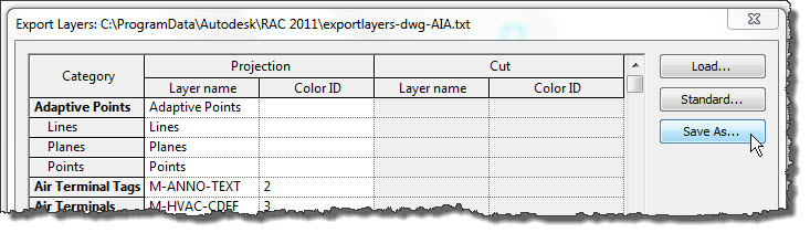 Revit OpEd: Saving or Sharing Export DWG Layer Standards