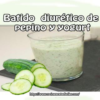 Batido diurético de pepino y yogur✅ Disfruta de los beneficios diuréticos del pepino en esta deliciosa y saciante receta y adelgaza sin pasar hambre.