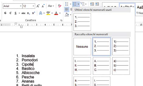 elenco numerato in word