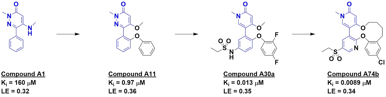 Again, comparison with known inhibitors provided ideas for fragment growing, rapidly leading to compound A11. Further medicinal chemistry – which is ...