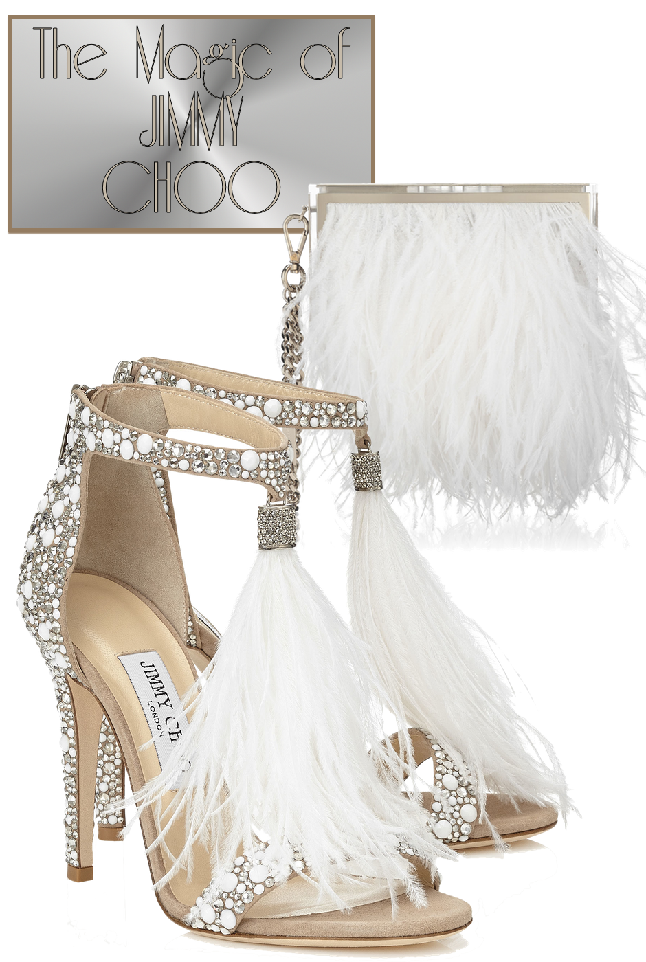 Jimmy Choo Viola 110 and Box Bag with Ostrich Feathers