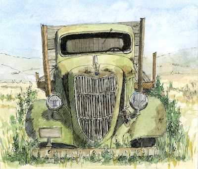 art sketch pen watercolor truck 1935 Ford flatbed