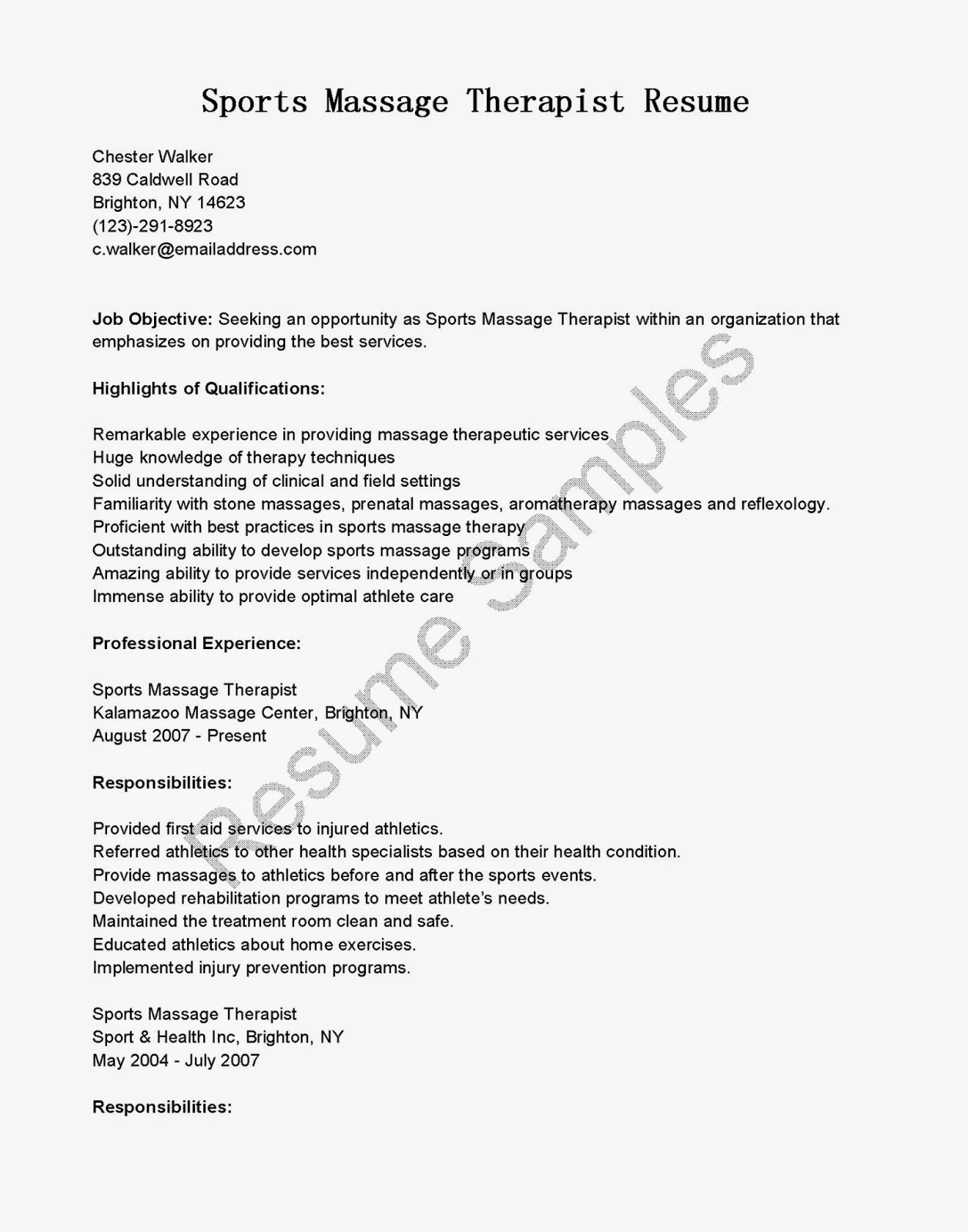 resume samples  sports massage therapist resume