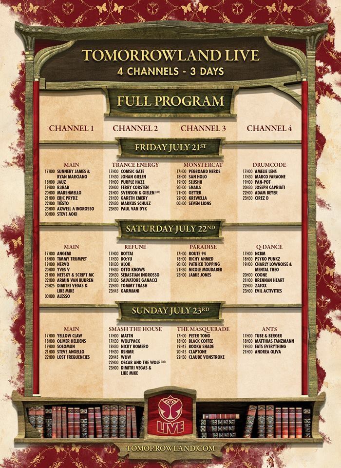 Tomorrowland 2017 Live Stream Schedule