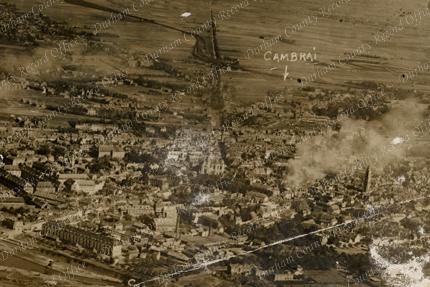 Aerial photograph of Cambrai, taken 1 October 1918 (DCRO D/DLI 13/2/246)