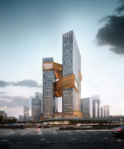騰訊新總部濱海大廈,藉由三座天橋連接著兩棟主體建築,希望促進員工間的溝通與合作。