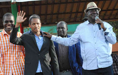 Babu Owino with Raila Odinga. PHOTO | Courtesy