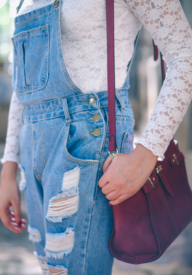 Ripped Denim Overalls Details