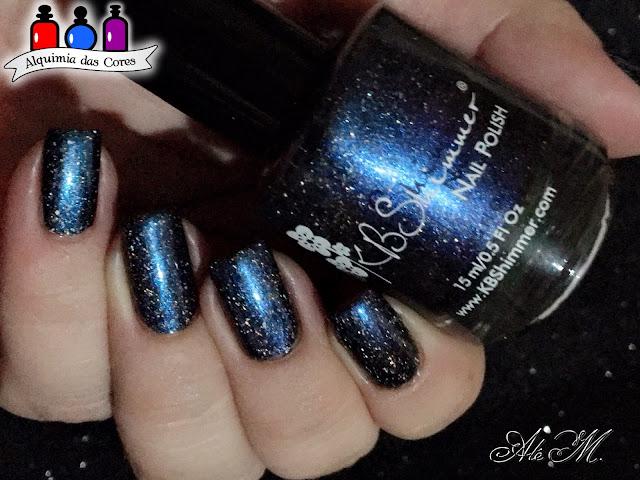Kb Shimmer, I'm Onyx, DRK Nails, Holo Glow Flake, Blue, Black, Glitter, Alê M. 2018