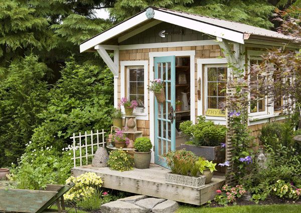 garden shed with blue door