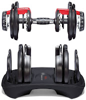 Dumbbell & cradle, image, with dial adjustment system on Bowflex ST 552 & Bowflex ST 1090 Adjustable Dumbbells