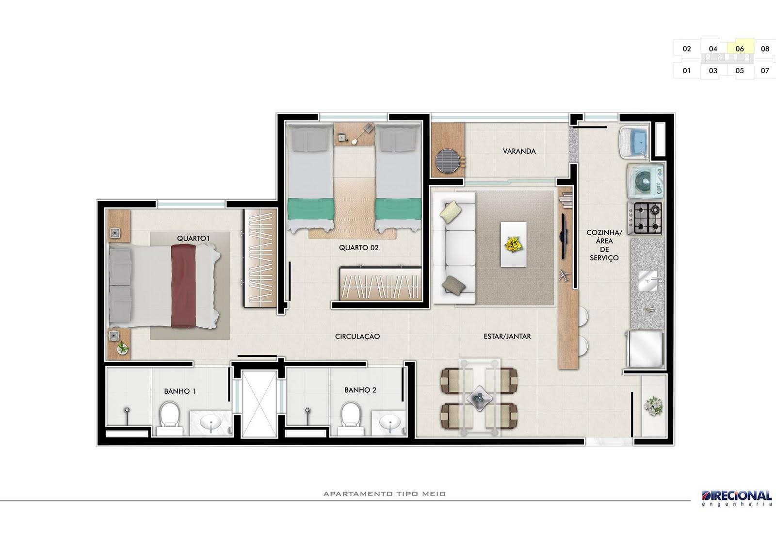 Plantas de casas 2 quartos 1 suite e garagem for Plantas de casas tipo 3