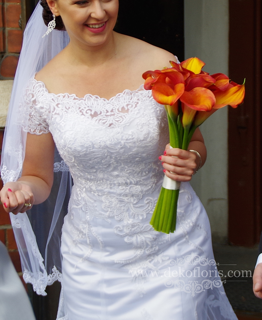 Wiązanka ślubna z pomarańczowej cantedeski Opole