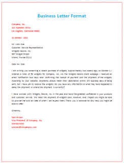 business letter format spacing