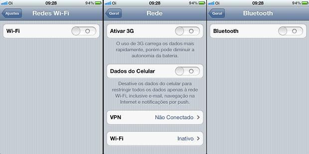 Desativando os recursos de rede  (Wi-Fi, 3G ou Edge e Bluetooth) do iPhone para ganhar velocidade