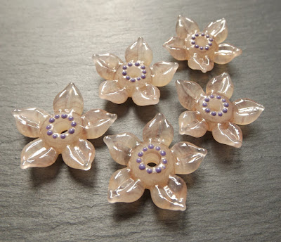 Lampwork glass flower beads made in Creation is Messy 'Velveteen'