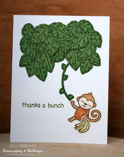 Thank You Monkey Card by Jess Gerstner featuring Lawn Fawn Critters in the Jungle