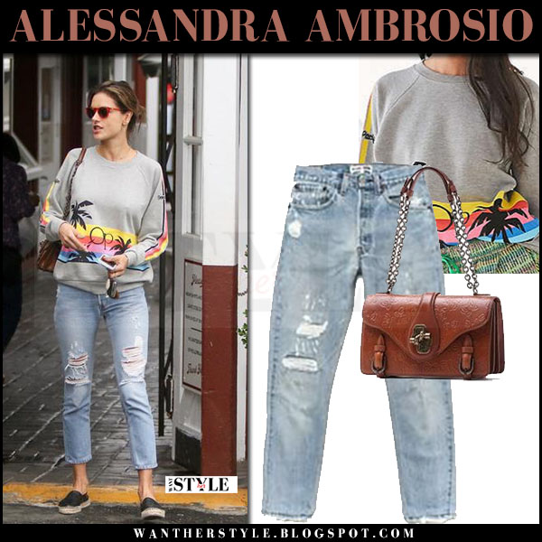 Alessandra Ambrosio in grey sweatshirt and ripped cropped jeans re/done what she wore may 5 2017