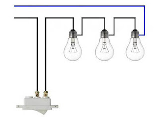 Residential electrical installations diagram three bulbs in series