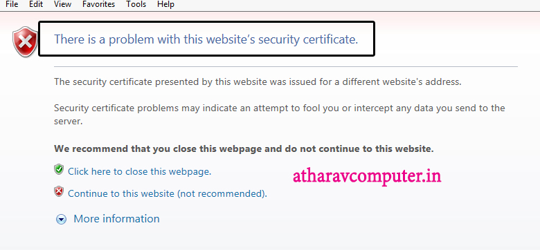 how to fix -There is a problem with this website\'s security ...