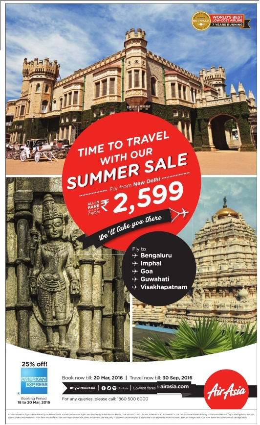 Fly from New Delhi with just Rs 2,599 | March 2016 discount offers