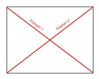 Bir dikdörtgen içinde kırmızı çizgilerle gösterilmiş iki köşegen