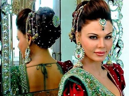 latest indian wedding silk saree jewellery wedding hair style november 2013