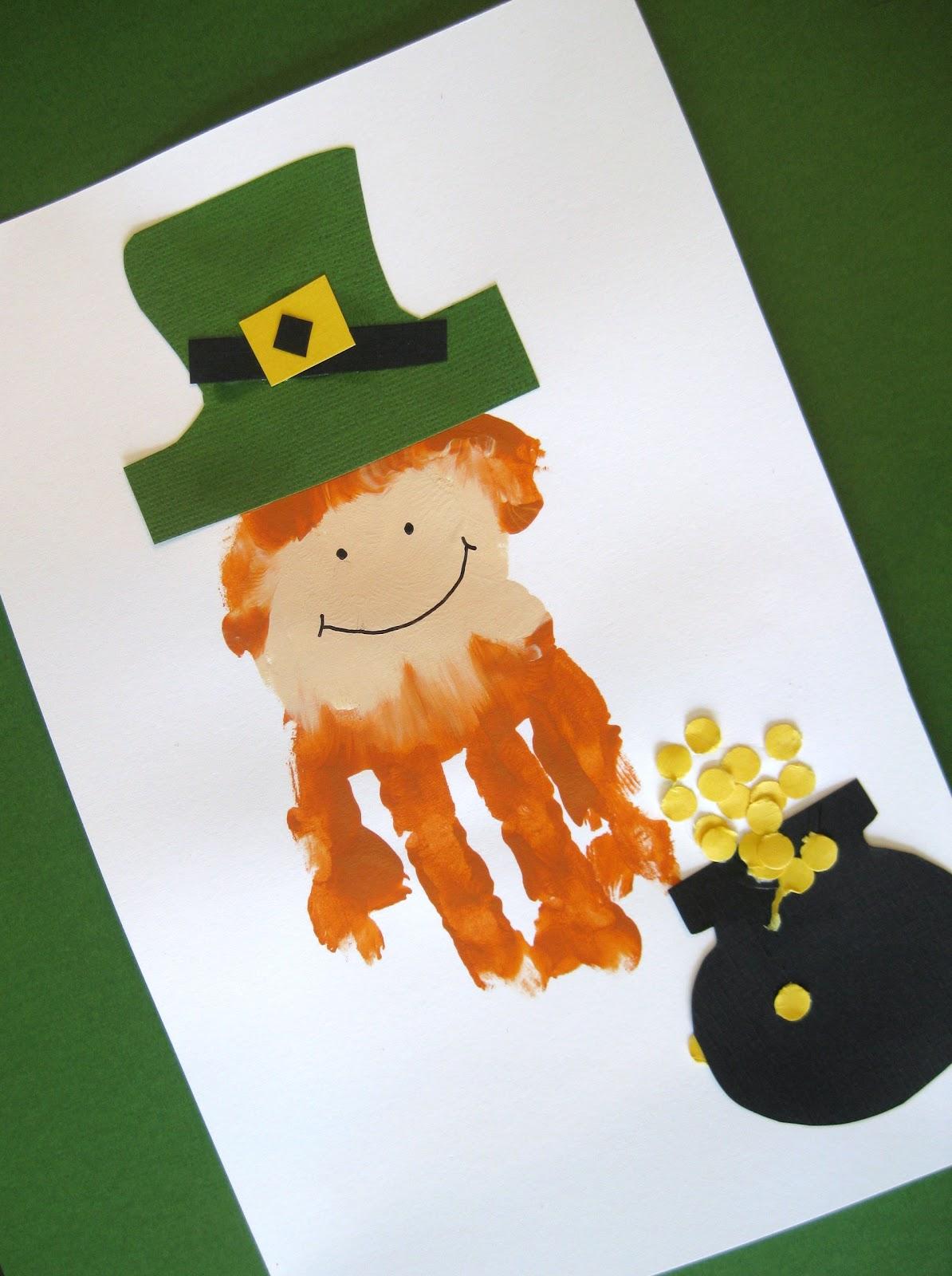 Preschool Crafts For Kids St Patrick S Day Hand Print Leprechaun Craft