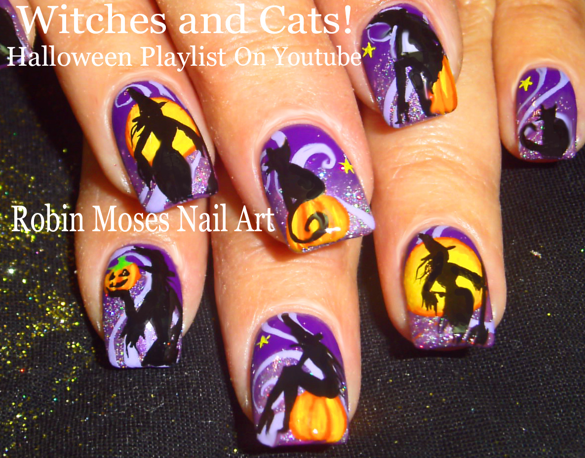 Nail Art by Robin Moses: CUTE HALLOWEEN NAIL ART! Sexy Witches on ...