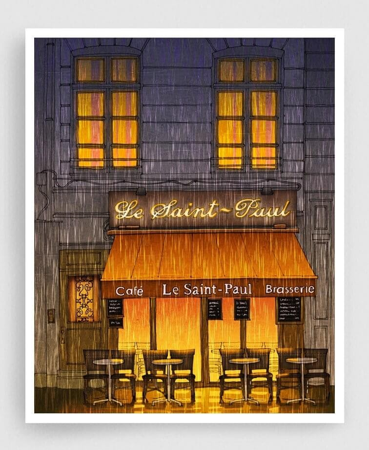 04-Rainy-Day-Brigitta-Paris-Illustrations-Colorful-Architecture-www-designstack-co