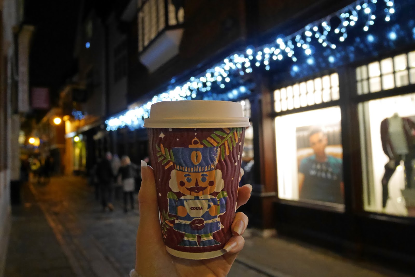 Costa Christmas drink on Canterbury high street, Canterbury Christmas Lights Switch On 2017