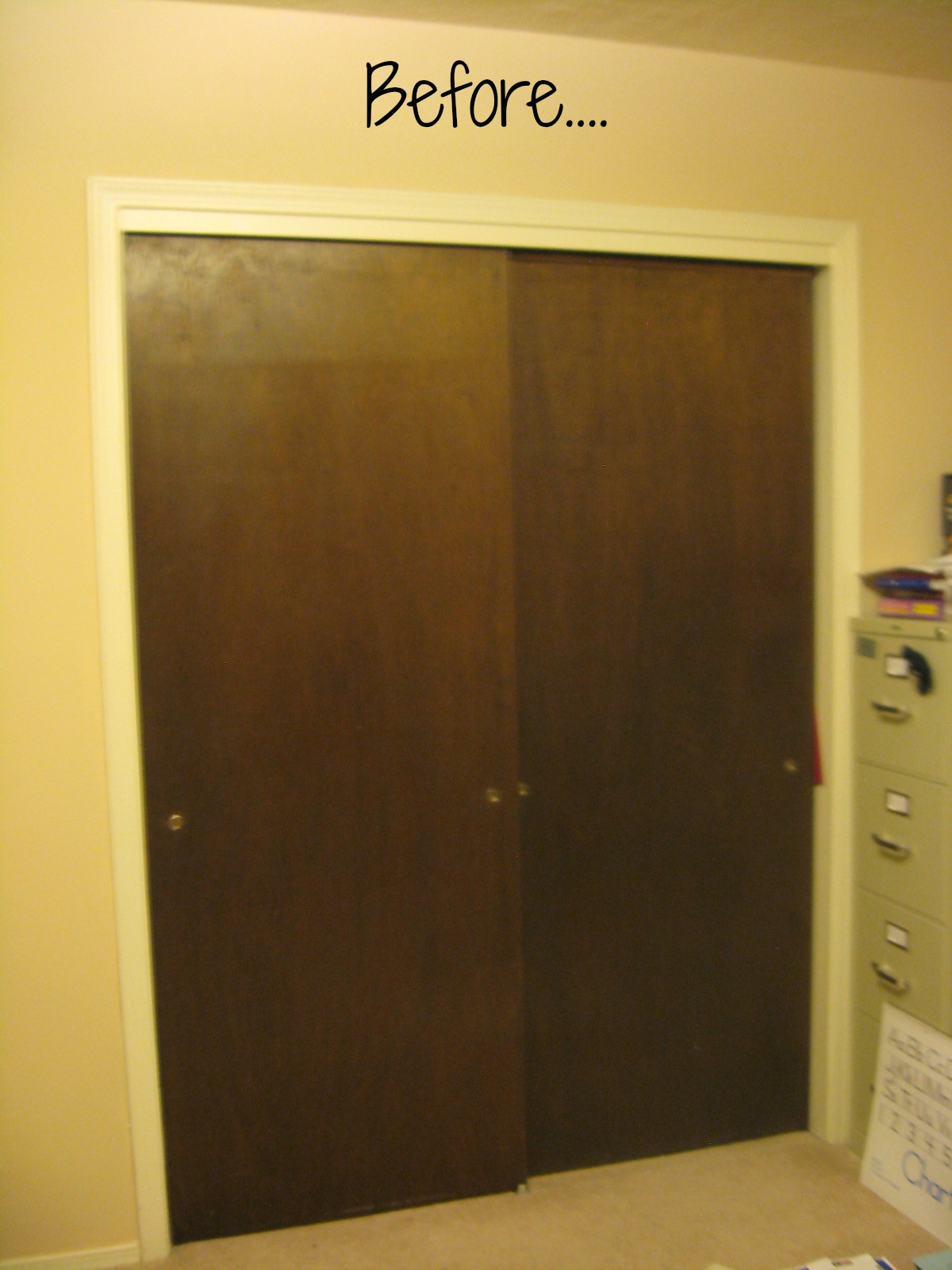 Brown Walls In Bedroom Closet Door Makeover