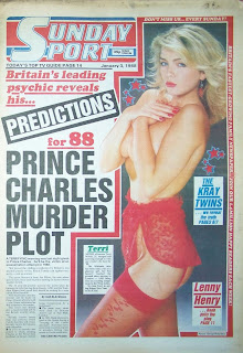 Front cover from the Sunday Sport newspaper from 3rd Jan 88