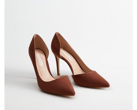 Pantofi de zi eleganti cu toc subtire si decupaje din piele intoarsa roz pastelat