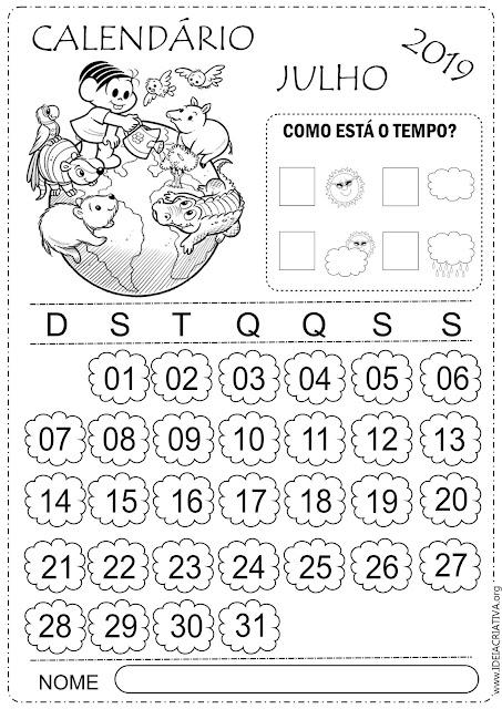 Calendários escolares Julho 2019 Turma da Mônica para  imprimir e colorir