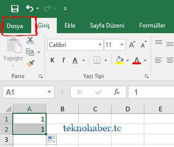 Excel'de Doldurma Tutamacını Gösterme Ve Gizleme