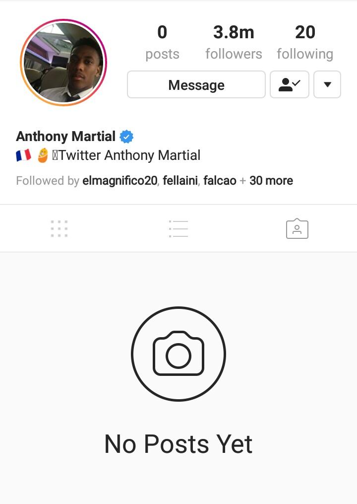 Manchester United striker, Anthony Martial in Instagram meltdown