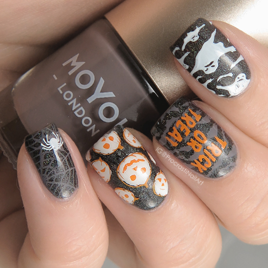 Stamped Halloween nail art with MoYou London Celebration 16 Plate