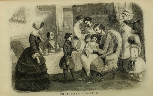 """Christmas Morning"" engraving from Godey's Lady's Book (1856)"