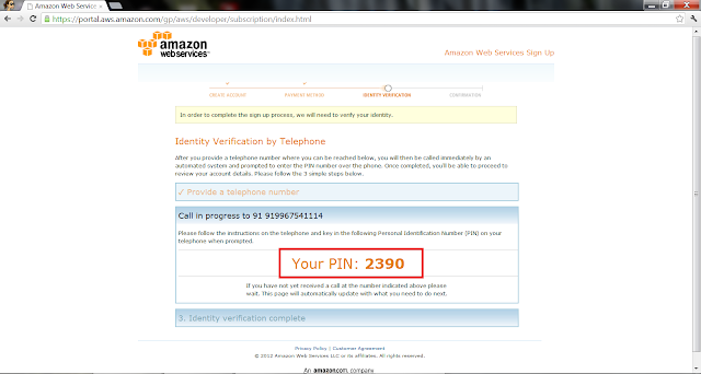 AWS Create Account - Phone verification pin 2