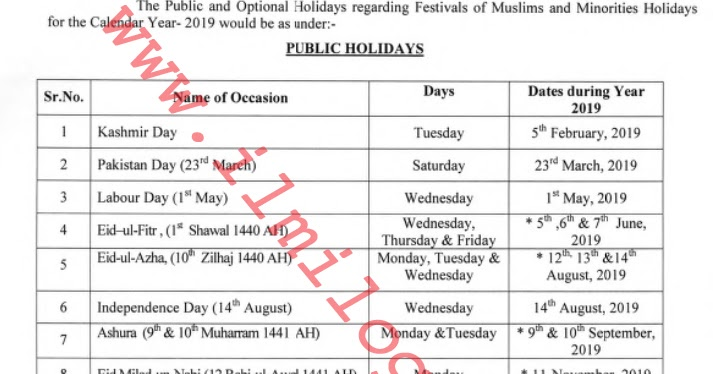 Notification Bank Holiday with All Public Holidays 2019 in A Year