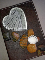 Leather, glass hearts and shells...