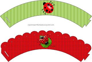 Ladybugs Free Printable Cupcake Wrappers.