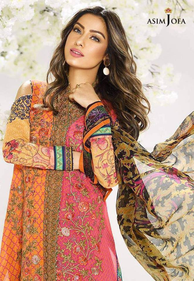 f6e4f4f90b Asim Jofa Embroidered Lawn Suit With Cotton Net Dupatta - Jiddat Collection  | Online Shopping For Women
